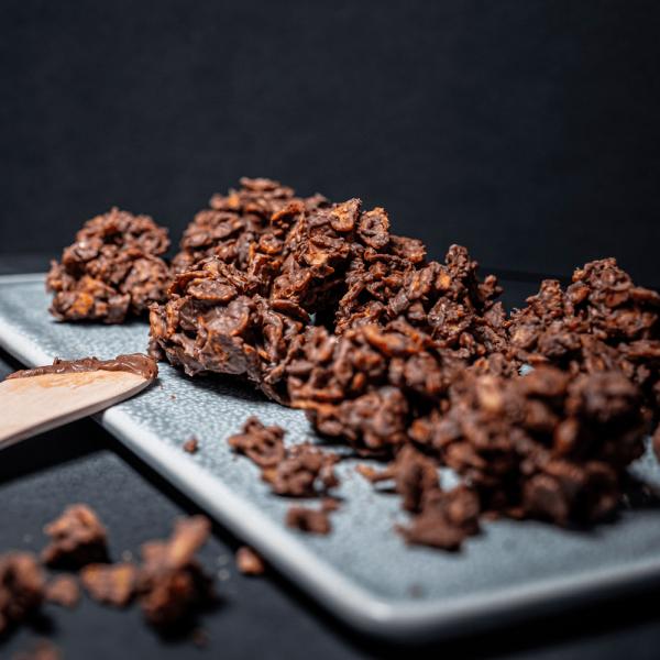 Roses des sables au chocolat et huile de noisette